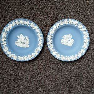 (2) Vintage Wedgwood Blue Jasper  Plate Collection